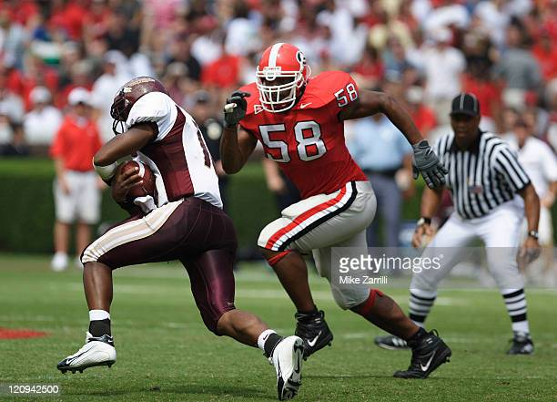 Georgia DE Will Thompson chases down a Louisiana Monroe RB during the game at Sanford Stadium in Athens GA on September 17 2005 The Bulldogs beat the...