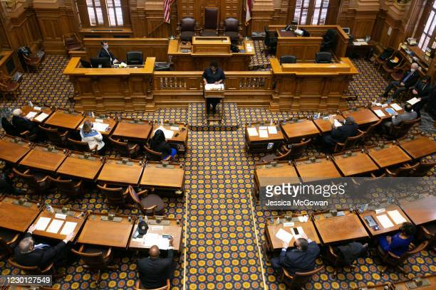 Georgia Democratic Electors cast their Electoral College votes at the Georgia State Capitol on December 14, 2020 in Atlanta, Georgia. 16 Electoral...