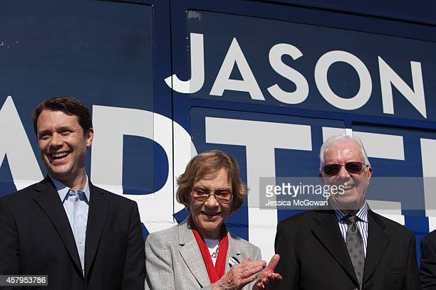 Georgia Democratic gubernatorial candidate and State Sen Jason Carter campaigns with his grandparents former first lady Rosalynn Carter and former US...