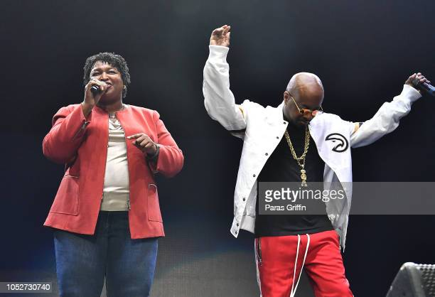 Georgia Democratic Gubernatorial Candidate Stacey Abrams and Jermaine Dupri speaks onstage during So So Def 25th Cultural Curren$y Tour at State Farm...