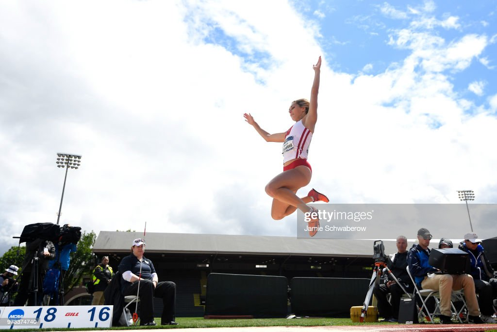 Georgia Ellenwood of the Wisconsin Badgers competes in the long jump as part of the heptathlon competition during the Division I Women's Outdoor Track & Field Championship held at Hayward Field on June 9, 2018 in Eugene, Oregon. Ellenwood won the hepthalon.