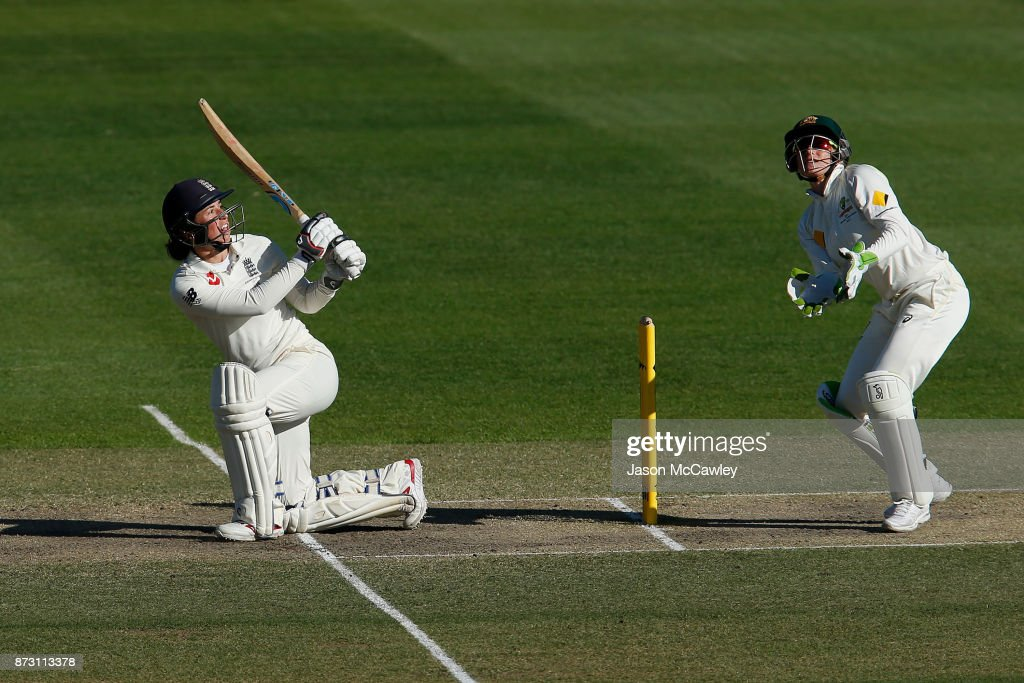 Georgia Elwiss of England bats during day four of the Women's Test match between Australia and England at North Sydney Oval on November 12, 2017 in Sydney, Australia.