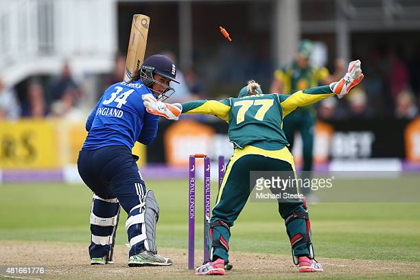Georgia Elwiss of England is bowled by Megan Schutt of Australia during the 2nd Royal London ODI of the Women's Ashes Series between England and...