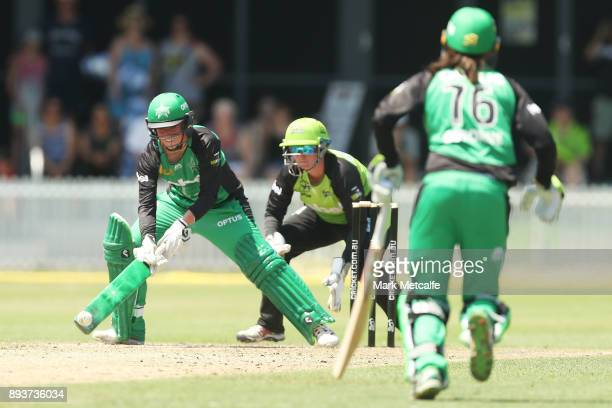 Georgia Elwiss of the Stars bats during the Women's Big Bash League match between the Melbourne Stars and the Sydney Thunder at Horwall Oval on...