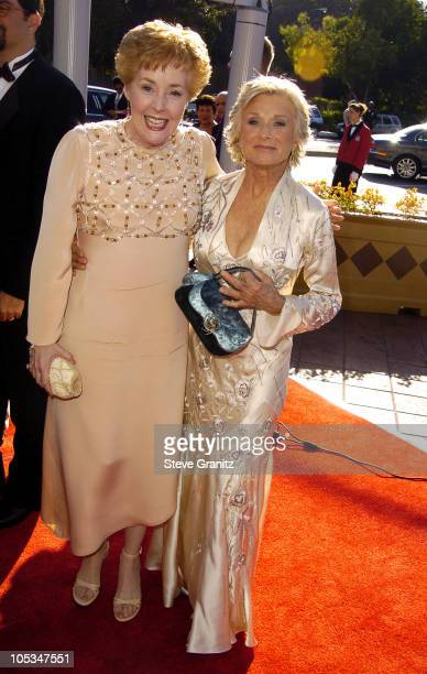 Georgia Engel and Cloris Leachman during 2004 Emmy Creative Arts Awards Arrivals at Shrine Auditorium in Los Angeles California United States