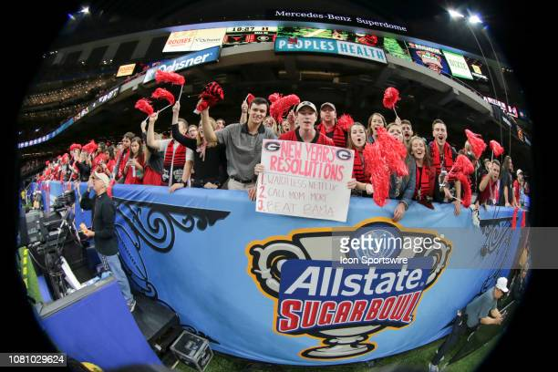 Georgia fan sign during the Allstate Sugar Bowl game between the Georgia Bulldogs and the Texas Longhorns on January 1 2019 at the MercedesBenz...
