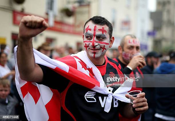 Georgia fans enjoy the atmosphere ahead of the 2015 Rugby World Cup Pool C match between Tonga and Georgia at Kingsholm Stadium on September 19 2015...