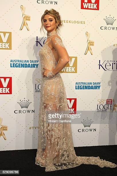 Georgia Flood arrives at the 58th Annual Logie Awards at Crown Palladium on May 8 2016 in Melbourne Australia