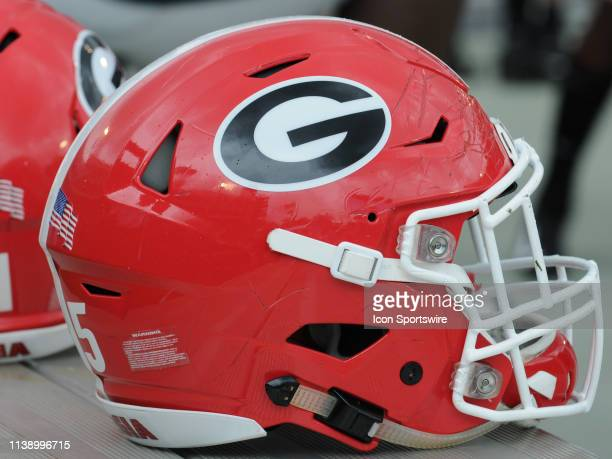 Georgia Football helmet sits on the sideline during the Georgia Bulldogs Spring Game on April 20 at Sanford Stadium in Athens GA