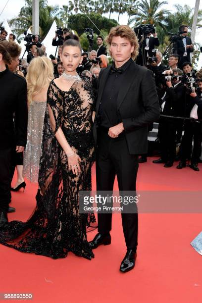 Georgia Fowler and Jordan Barrett attend the screening of Solo A Star Wars Story during the 71st annual Cannes Film Festival at Palais des Festivals...