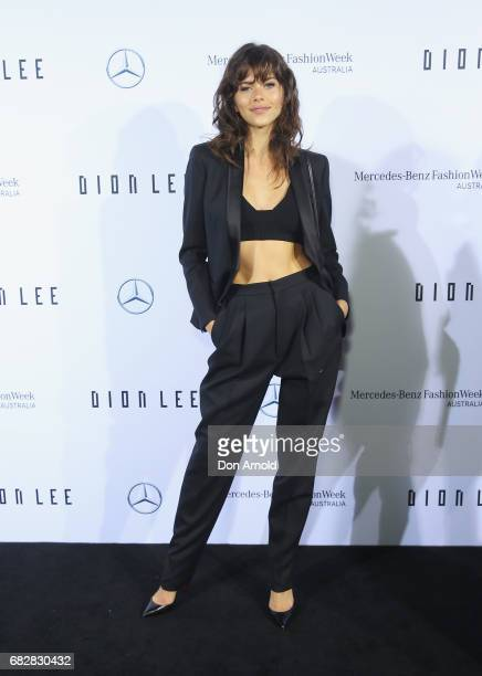 Georgia Fowler arrives ahead of the Mercedes-Benz Presents Dion Lee show at Mercedes-Benz Fashion Week Resort 18 Collections at the Sydney Opera...