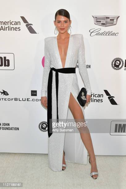 Georgia Fowler attends the 27th annual Elton John AIDS Foundation Academy Awards Viewing Party celebrating EJAF and the 91st Academy Awards on...