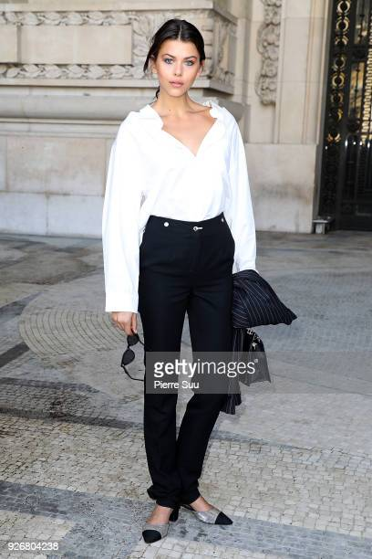 Georgia Fowler attends the Elie Saab show as part of the Paris Fashion Week Womenswear Fall/Winter 2018/2019 on March 3 2018 in Paris France