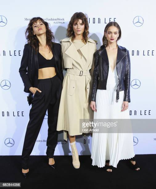 Georgia Fowler Montana Cox and Rosie Tupper arrive ahead of the MercedesBenz Presents Dion Lee show at MercedesBenz Fashion Week Resort 18...