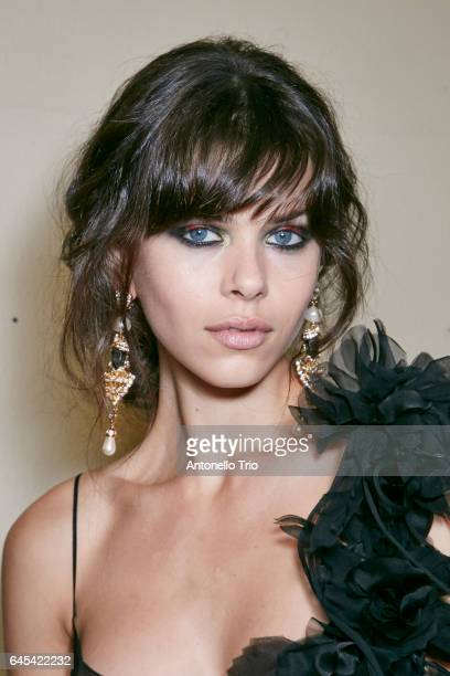 Georgia Fowler seen backstage ahead of the Alberta Ferretti show during Milan Fashion Week Fall/Winter 2017/18 on February 22 2017 in Milan Italy