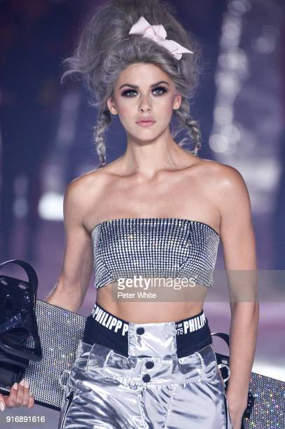 Georgia Fowler walks the runway at the Philipp Plein Fashion Show during New York Fashion Week on February 10 2018 in New York City