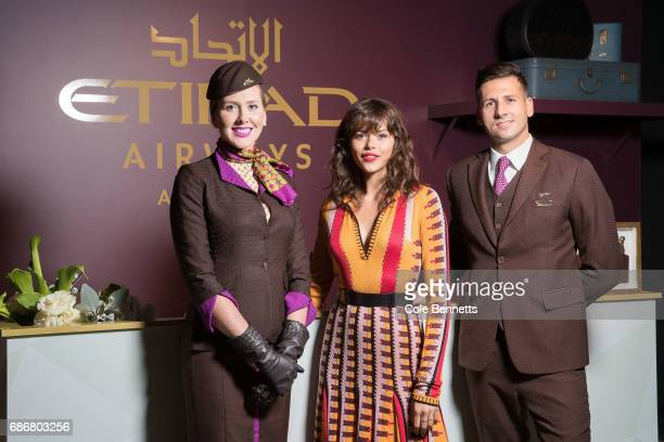 Georgia Fowler with the Etihad Cabin crew during the Ellery X Etihad Airways 10YRS event at MercedesBenz Fashion Week Resort 18 Collections at the...