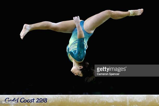 Georgia Godwin of Australia competes on the beam during the Women's Team Final and Individual Qualification Artistic Gymnastics on day two of the...