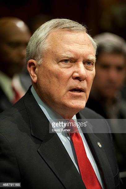 Georgia Gov Nathan Deal answers questions from the media during a news conference at the Capitol building on February 11 2014 in Atlanta Georgia An...