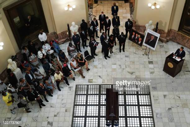 Georgia Governor Brian Kemp speaks as the body of civil rights leader C.T. Vivian lies in state in the Georgia Capitol building on July 22, 2020 in...