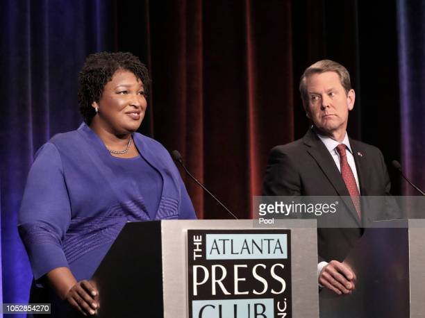 Georgia gubernatorial candidates Democrat Stacey Abrams and Republican Brian Kemp debate in an event that also included Libertarian Ted Metz at...