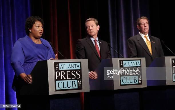 Georgia gubernatorial candidates Democrat Stacey Abrams Republican Brian Kemp and Libertarian Ted Metz debate at Georgia Public Broadcasting in...