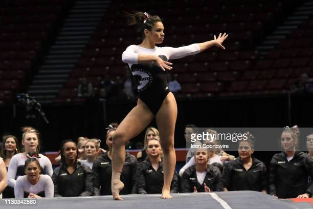 Georgia gymnast Sabrina Vega during the Elevate the Stage Meet on March 8 2019 at Legacy Arena in Birmingham Alabama