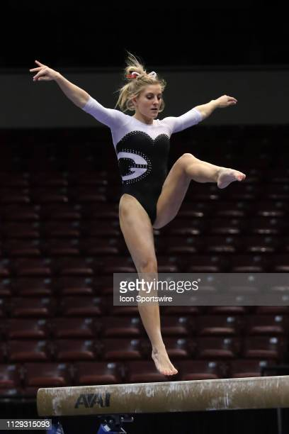 Georgia gymnast Sydney Snead performs on the balance beam during the Elevate the Stage Meet on March 8 2019 at Legacy Arena in Birmingham Alabama