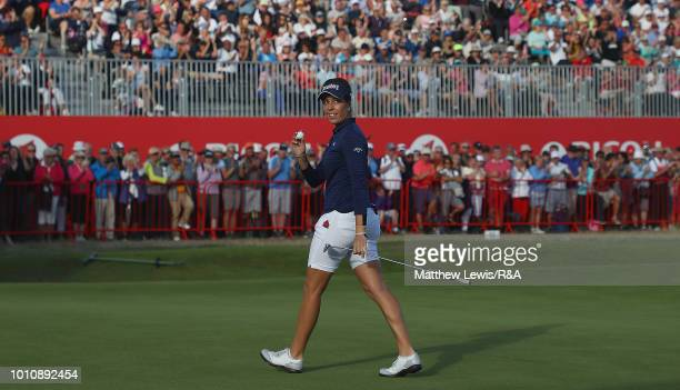 Georgia Hall of England celebrates her round during day three of the Ricoh Women's British Open at Royal Lytham St Annes on August 4 2018 in Lytham...
