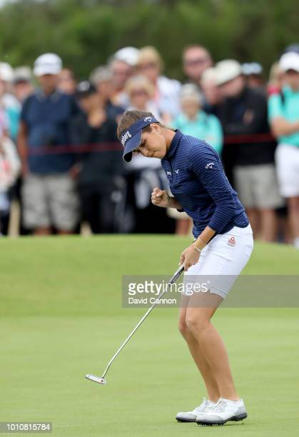 Georgia Hall of England celebrates holing a par putt on the second hole during the third round of the Ricoh Women's British Open at Royal Lytham and...