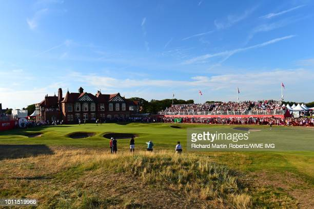 Georgia Hall of England celebrates victory on the 18th green during the final round of the Ricoh Women's British Open at Royal Lytham St Annes on...