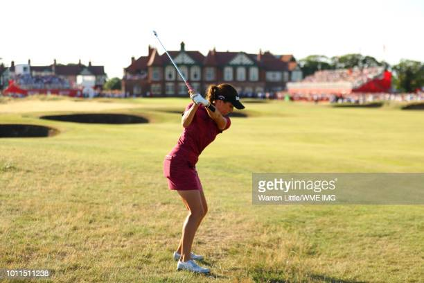 Georgia Hall of England hits her second shot on the 18th hole during the final round of the Ricoh Women's British Open at Royal Lytham St Annes on...