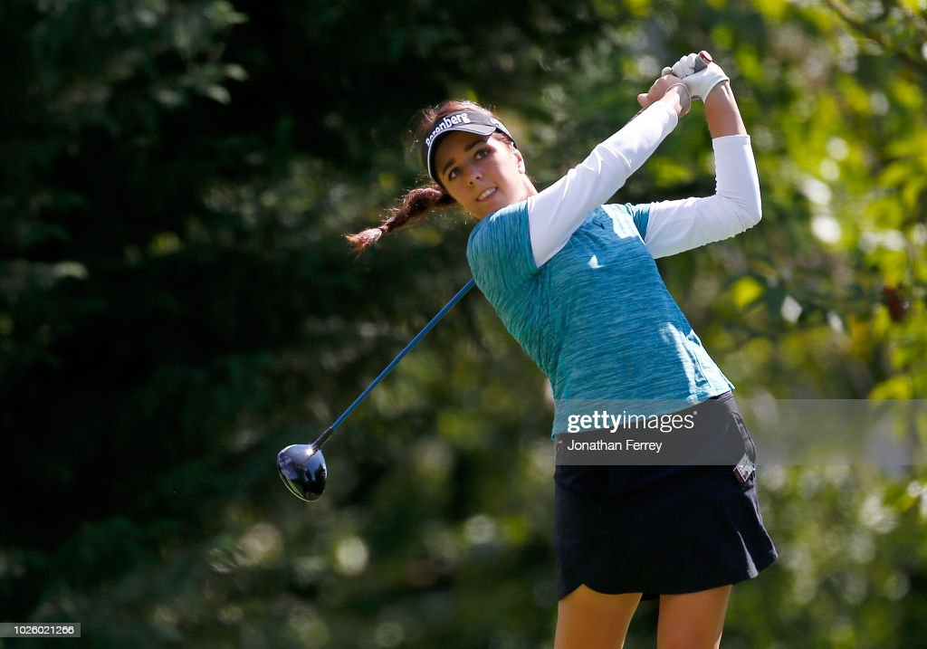 Georgia Hall of England hits on the 7th hole during the third round of the LPGA Cambia Portland Classic at Columbia Edgewater Country Club on September 1, 2018 in Portland, Oregon.