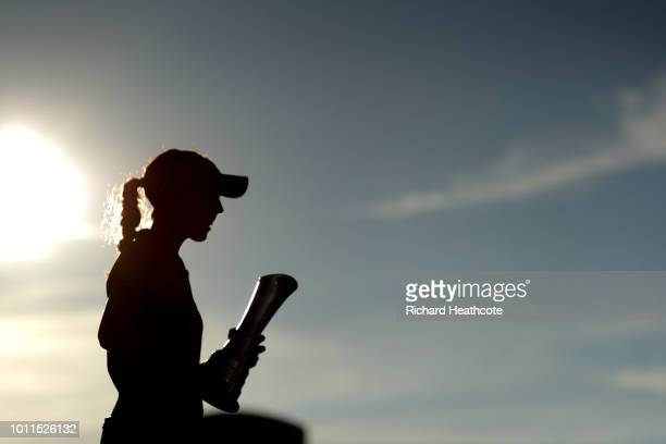 Georgia Hall of England holds her trophy after winning the tournament during day four of Ricoh Women's British Open at Royal Lytham St Annes on...