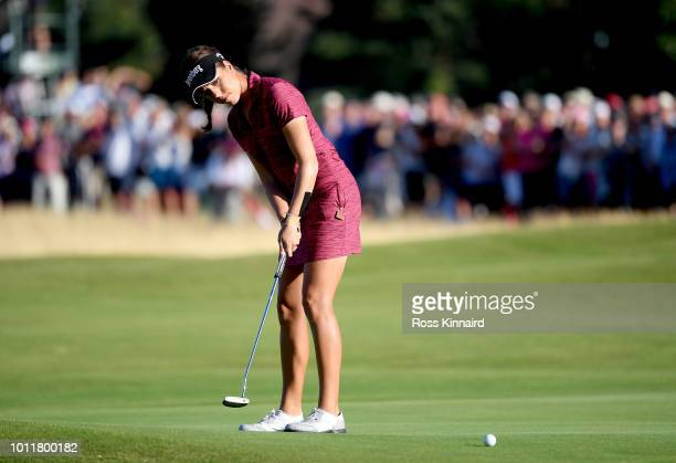 Georgia Hall of England in action during the final round of the Ricoh Women's British Open at Royal Lytham St Annes on August 5 2018 in Lytham St...