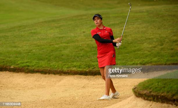 Georgia Hall of England in action during the pro-am event prior to the AIG Women's British Open at Woburn Golf Club on July 31, 2019 in Woburn,...