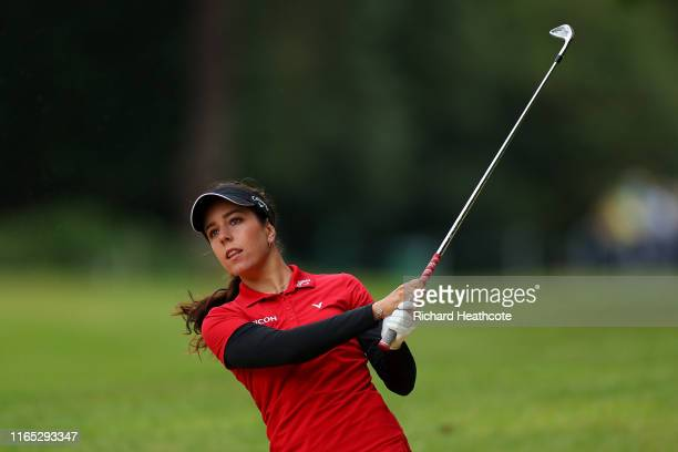 Georgia Hall of England in action during the pro-am for the AIG Women's British Open at Woburn Golf Club on July 31, 2019 in Woburn, England.