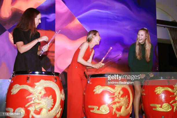 Georgia Hall of England Lydia Ko of New Zealand and Nelly Korda of the United States attend a welcome dinner prior to the HSBC Women's World...