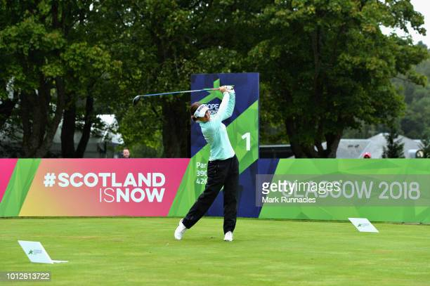 Georgia Hall of England plays a practice round during previews for the European Golf Team Championships at Gleneagles on August 7, 2018 in...