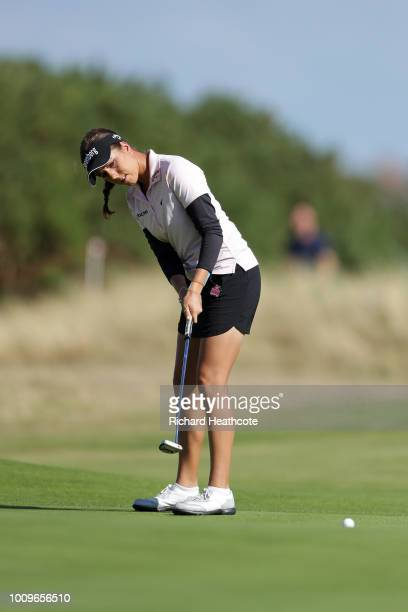 Georgia Hall of England plays a putt on 18th green during day one of Ricoh Women's British Open at Royal Lytham St Annes on August 2 2018 in Lytham...