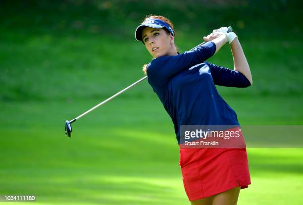 Georgia Hall of England plays a shot during Day Four of The Evian Championship 2018 at Evian Resort Golf Club on September 16 2018 in EvianlesBains...