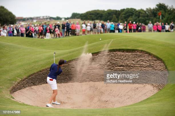 Georgia Hall of England plays a shot from a bunker on the 6th hole during day three of Ricoh Women's British Open at Royal Lytham St Annes on August...