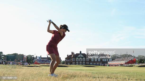 Georgia Hall of England plays her second shot from the 18th rough during day four of the Ricoh Women's British Open at Royal Lytham St Annes on...