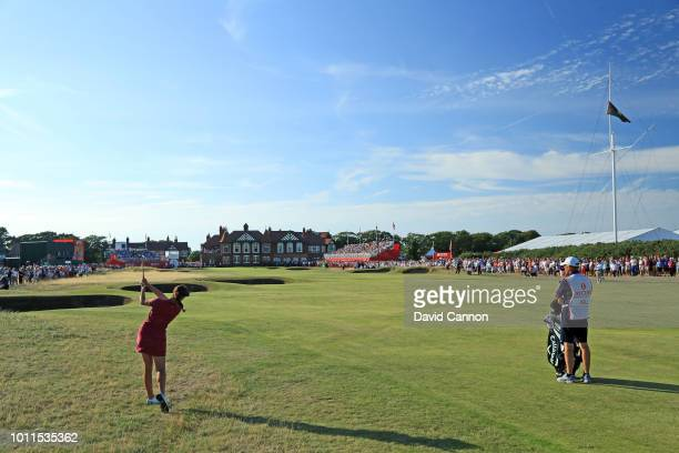 Georgia Hall of England plays her second shot on the 18th hole during the final round of the Ricoh Women's British Open at Royal Lytham and St Annes...