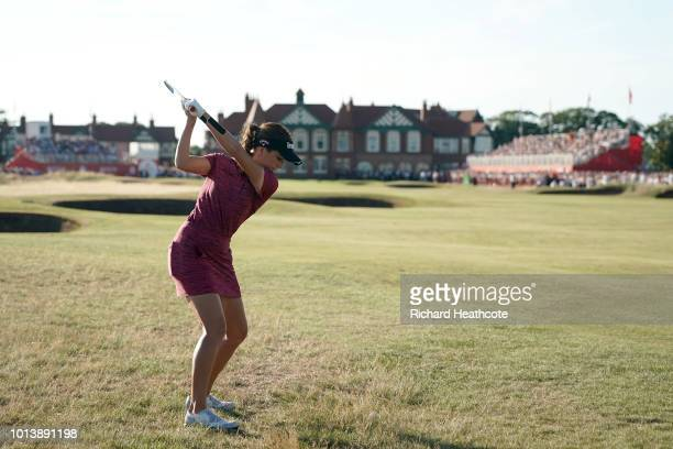 Georgia Hall of England plays her second shot on the 18th hole during day four of Ricoh Women's British Open at Royal Lytham St Annes on August 5...