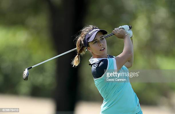 Georgia Hall of England plays her second shot on the first hole during the final round of the 2016 Omega Dubai Ladies Masters on the Majlis Course at...