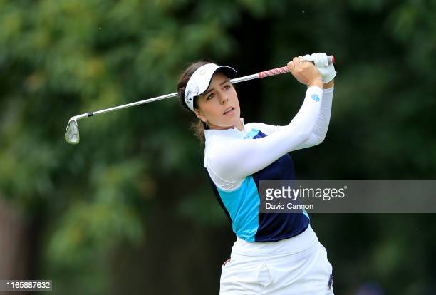 Georgia Hall of England plays her second shot on the par 4, first hole during the third round of the AIG Women's British Open on the Marquess Course...
