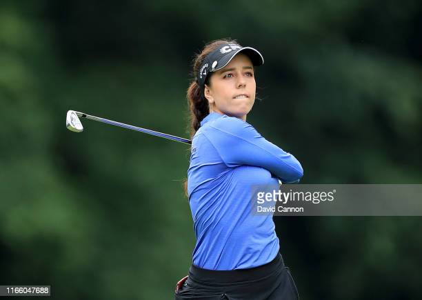 Georgia Hall of England plays her second shot on the par 4, third hole during the final round of the AIG Women's British Open on the Marquess Course...