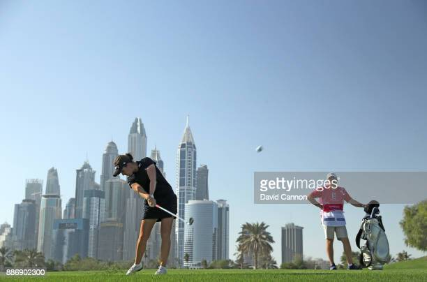Georgia Hall of England plays her second shot on the par 5 13th hole during the first round of the 2017 Dubai Ladies Classic on the Majlis Course at...