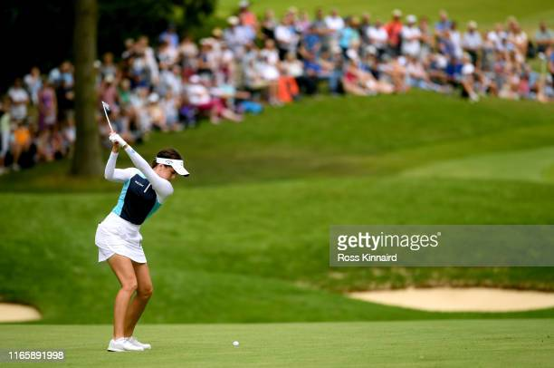 Georgia Hall of England plays her second shot on the par four 3rd hole during the third round of the AIG Women's British Open at Woburn Golf Club on...